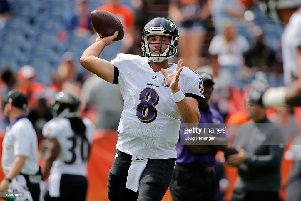 Quarterback <a gi-track='captionPersonalityLinkClicked' href=/galleries/search?phrase=Matt+Schaub&family=editorial&specificpeople=2210847 ng-click='$event.stopPropagation()'>Matt Schaub</a> #8 of the Baltimore Ravens warms up prior to facing the Denver Broncos at Sports Authority Field at Mile High on September 13, 2015 in Denver, Colorado. The Broncos defeated the Ravens 19-13.