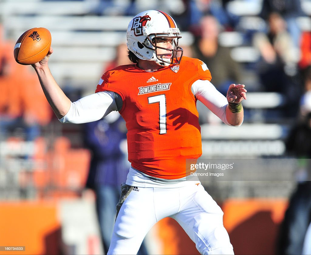 Quarterback Matt Schilz of the Bowling Green Falcons throws a pass during a game with the Kent State Golden Flashes at Dolt L Perry Stadium in...