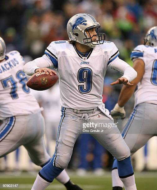 Quarterback Matthew Stafford of the Detroit Lions passes against the Seattle Seahawks on November 8 2009 at Qwest Field in Seattle Washington The...