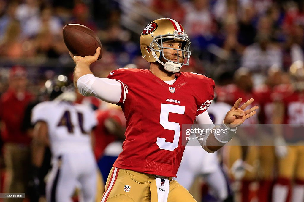 Quarterback <a gi-track='captionPersonalityLinkClicked' href=/galleries/search?phrase=McLeod+Bethel-Thompson&family=editorial&specificpeople=4511585 ng-click='$event.stopPropagation()'>McLeod Bethel-Thompson</a> #5 of the San Francisco 49ers throws a pass against the Baltimore Ravens during the second half of an NFL pre-season game at M&T Bank Stadium on August 7, 2014 in Baltimore, Maryland.