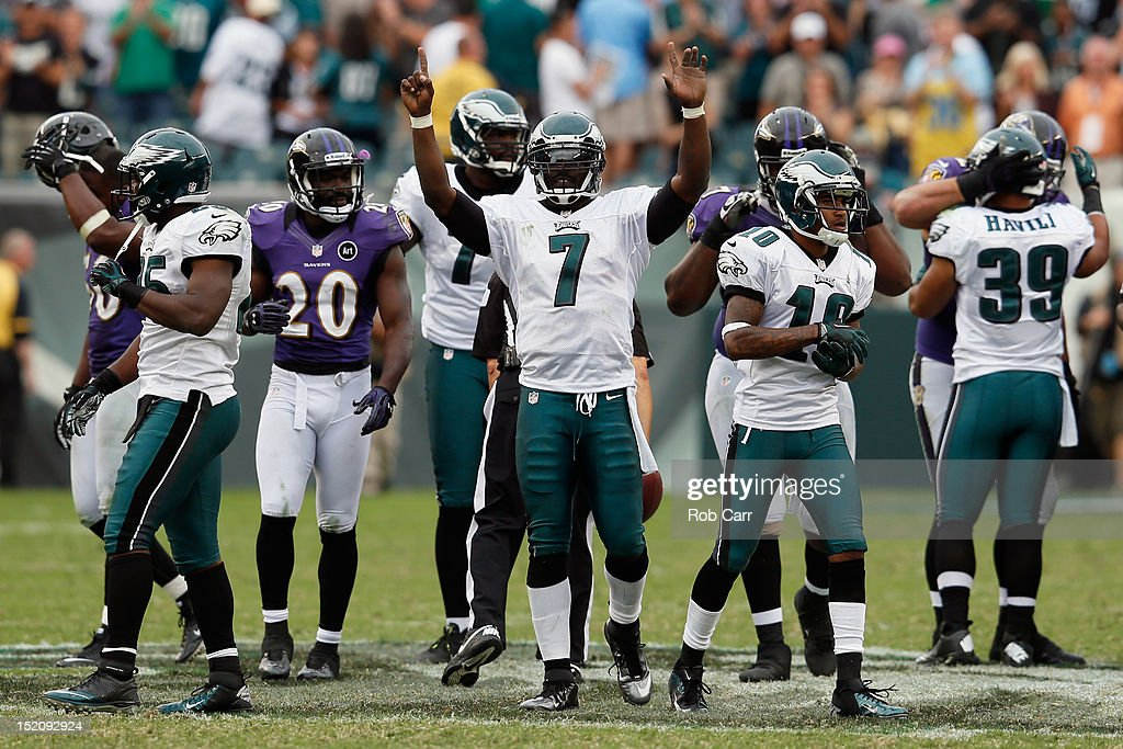 Quarterback <a gi-track='captionPersonalityLinkClicked' href=/galleries/search?phrase=Michael+Vick&family=editorial&specificpeople=201746 ng-click='$event.stopPropagation()'>Michael Vick</a> #7 of the Philadelphia Eagles celebrates after the Eagles defeated the Baltimore Ravens 24-23 at Lincoln Financial Field on September 16, 2012 in Philadelphia, Pennsylvania.