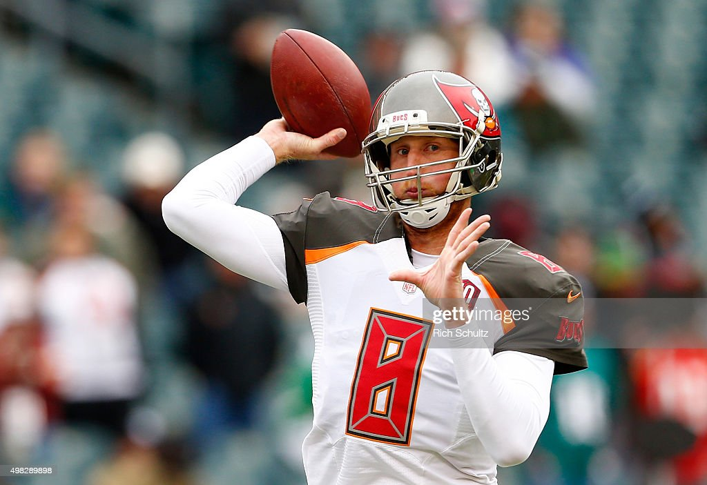 Quarterback <a gi-track='captionPersonalityLinkClicked' href=/galleries/search?phrase=Mike+Glennon+-+Footballspieler&family=editorial&specificpeople=11404080 ng-click='$event.stopPropagation()'>Mike Glennon</a> #8 of the Tampa Bay Buccaneers throws a pass during warm-ups before the game against the Philadelphia Eagles at Lincoln Financial Field on November 22, 2015 in Philadelphia, Pennsylvania.