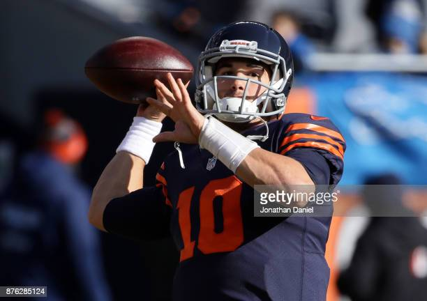 Quarterback Mitch Trubisky of the Chicago Bears warms up prior to the game against the Detroit Lions at Soldier Field on November 19 2017 in Chicago...