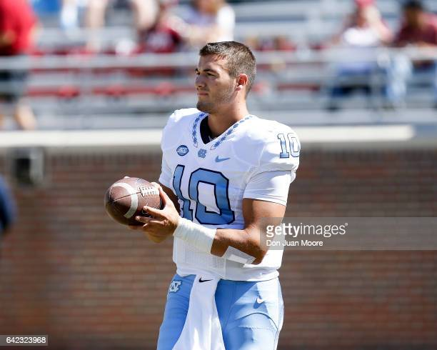 Quarterback Mitch Trubisky of the North Carolina Tar Heels before the game against the Florida State Seminoles at Doak Campbell Stadium on Bobby...