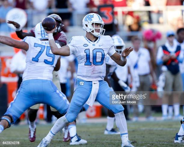 Quarterback Mitch Trubisky of the North Carolina Tar Heels on a pass play during the game against the Florida State Seminoles at Doak Campbell...