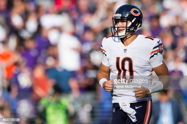 Quarterback Mitchell Trubisky of the Chicago Bears in action in overtime against the Baltimore Ravens at MT Bank Stadium on October 15 2017 in...