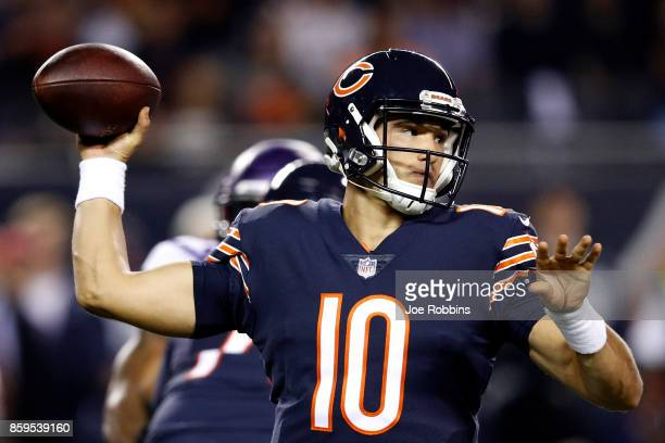 Quarterback Mitchell Trubisky of the Chicago Bears looks to pass in the first quarter against the Minnesota Vikings at Soldier Field on October 9...