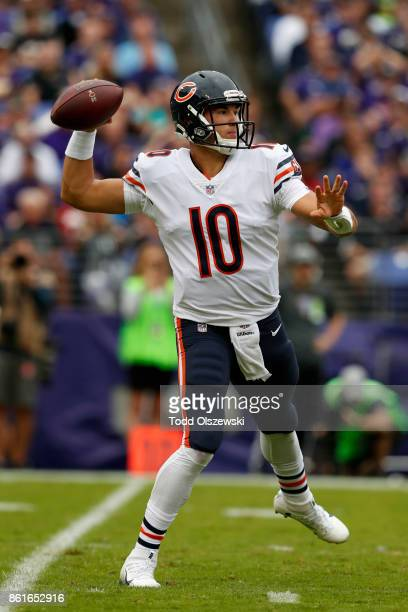 Quarterback Mitchell Trubisky of the Chicago Bears passes in the first quarter against the Baltimore Ravens at MT Bank Stadium on October 15 2017 in...