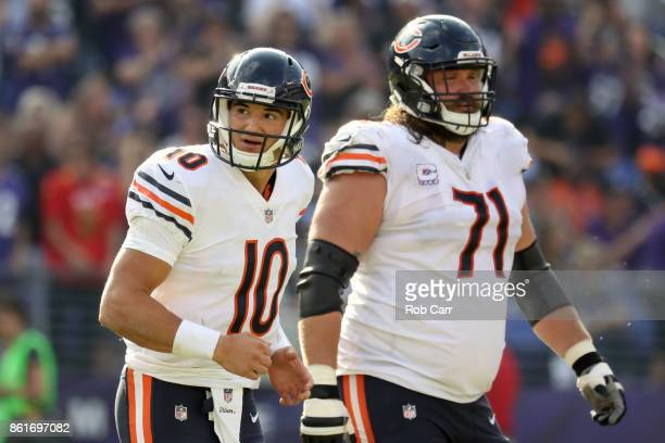 Quarterback Mitchell Trubisky of the Chicago Bears runs off the filed after a fumble in fourth quarter against the Baltimore Ravens at MT Bank...