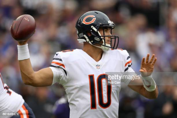 Quarterback Mitchell Trubisky of the Chicago Bears throws in the first quarter against the Baltimore Ravens at MT Bank Stadium on October 15 2017 in...