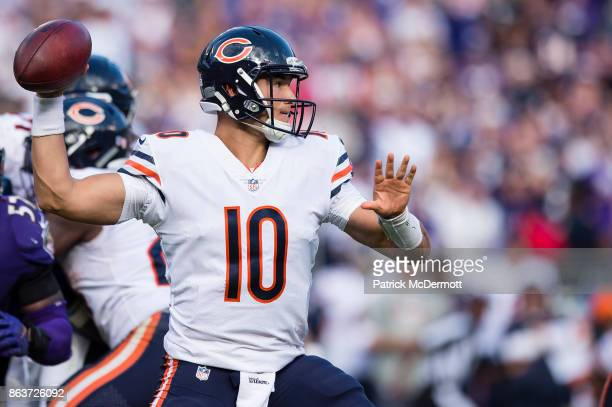 Quarterback Mitchell Trubisky of the Chicago Bears throws in the fourth quarter against the Baltimore Ravens at MT Bank Stadium on October 15 2017 in...
