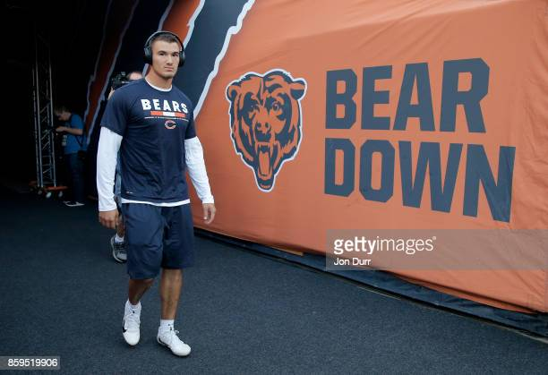 Quarterback Mitchell Trubisky of the Chicago Bears walks out to the field prior to the game against the Minnesota Vikings at Soldier Field on October...
