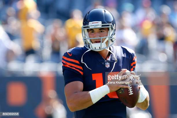 Quarterback Mitchell Trubisky of the Chicago Bears warms up prior to the game against the Pittsburgh Steelers at Soldier Field on September 24 2017...