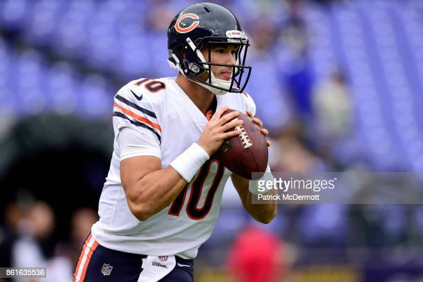 Quarterback Mitchell Trubisky of the Chicago Bears warms up prior to the game against the Baltimore Ravens at MT Bank Stadium on October 15 2017 in...