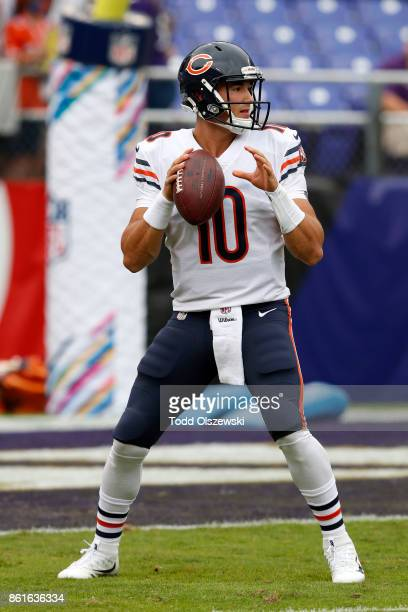 Quarterback Mitchell Trubisky of the Chicago Bears warms up prior to a game against the Baltimore Ravens at MT Bank Stadium on October 15 2017 in...