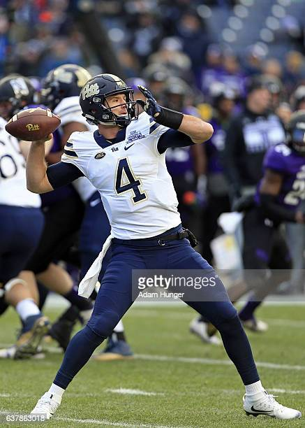 Quarterback Nathan Peterman of the Pittsburgh Panthers passes against the Northwestern Wildcats during the New Era Pinstripe Bowl at Yankee Stadium...