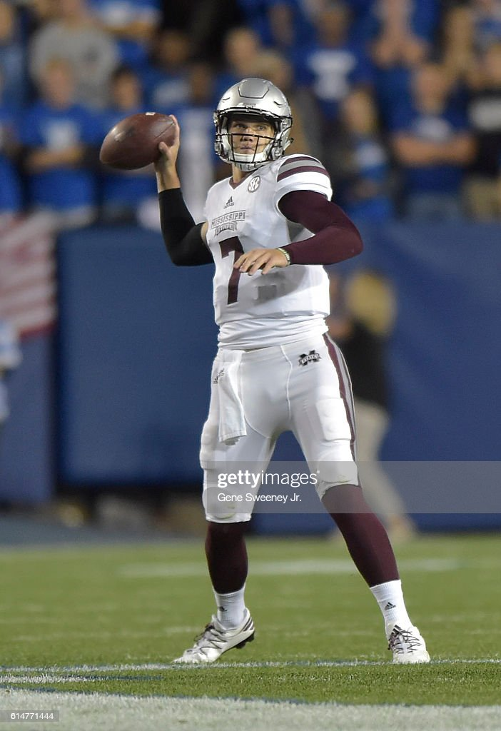 Quarterback Nick Fitzgerald #7 of the Mississippi State Bulldogs looks to pass the ball in the first quarter against the Brigham Young Cougars at LaVell Edwards Stadium on October 14, 2016 in Provo Utah.