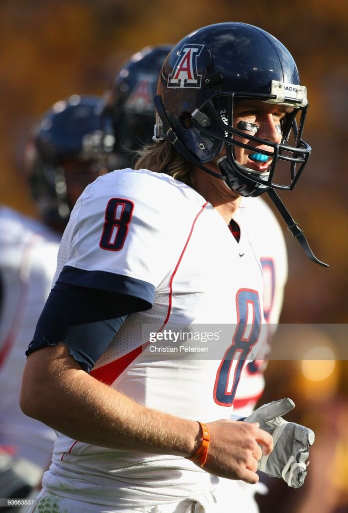 Quarterback Nick Foles of the Arizona Wildcats during the college football game against the Arizona State Sun Devils at Sun Devil Stadium on November...