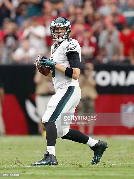 Quarterback Nick Foles of the Philadelphia Eagles drops back to pass during the NFL game against the Arizona Cardinals at the University of Phoenix...