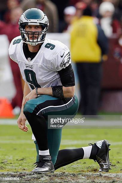 Quarterback Nick Foles of the Philadelphia Eagles gets up after being hit during the first half against the Washington Redskins at FedEx Field on...