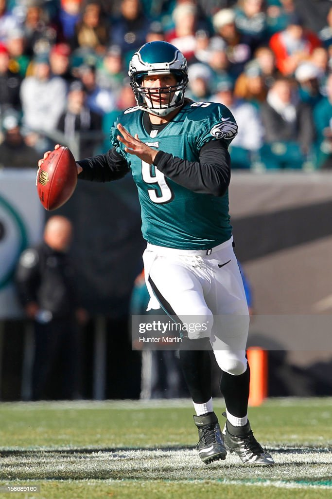 Quarterback <a gi-track='captionPersonalityLinkClicked' href=/galleries/search?phrase=Nick+Foles&family=editorial&specificpeople=4620741 ng-click='$event.stopPropagation()'>Nick Foles</a> #9 of the Philadelphia Eagles throws a pass during a game against the Washington Redskins on December 23, 2012 at Lincoln Financial Field in Philadelphia, Pennsylvania. The Redskins won 27-20.