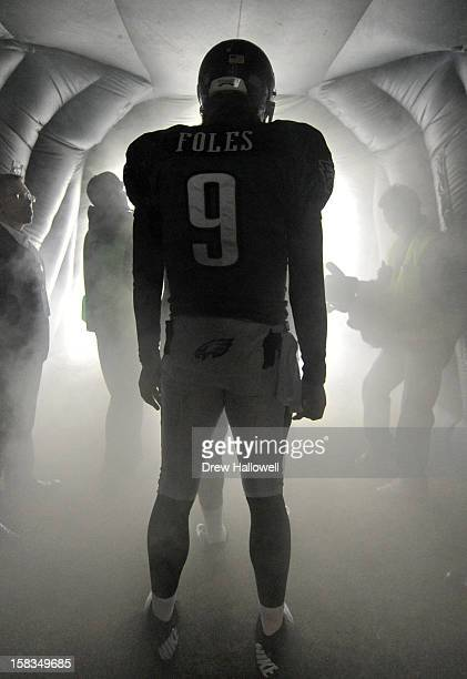 Quarterback Nick Foles of the Philadelphia Eagles waits in the tunnel before the game against the Cincinnati Bengals at Lincoln Financial Field on...