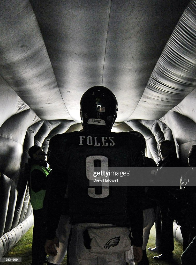Quarterback <a gi-track='captionPersonalityLinkClicked' href=/galleries/search?phrase=Nick+Foles&family=editorial&specificpeople=4620741 ng-click='$event.stopPropagation()'>Nick Foles</a> #9 of the Philadelphia Eagles waits in the tunnel before the game against the Cincinnati Bengals at Lincoln Financial Field on December 13, 2012 in Philadelphia, Pennsylvania.