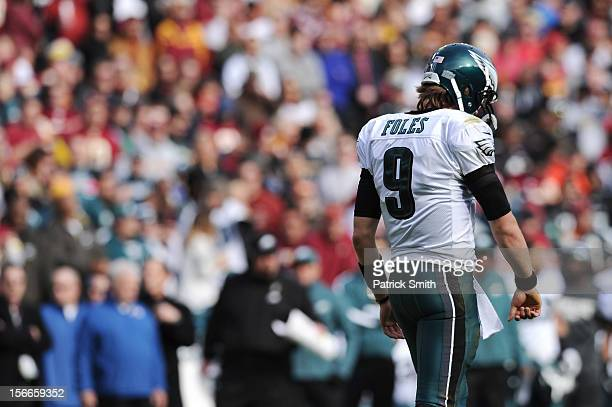 Quarterback Nick Foles of the Philadelphia Eagles walks off the field after a incomplete pass against the Washington Redskins in the first quarter at...