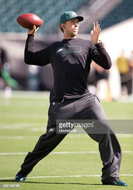 Quarterback Nick Foles of the Philadelphia Eagles warms up prior to the game against the Jacksonville Jaguars on September 7 2014 at Lincoln...