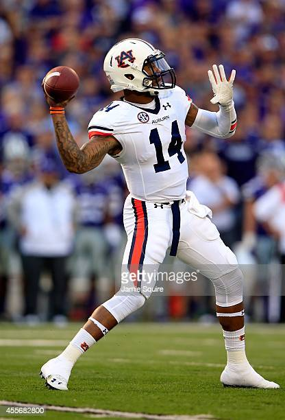 Quarterback Nick Marshall of the Auburn Tigers passes during the game against the Kansas State Wildcats at Bill Snyder Family Football Stadium on...