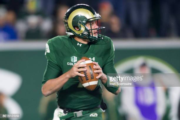 CSU quarterback Nick Stevens throws the ball during the UNR at CSU football game at Sonny Lubick Field at Hughes Stadium in Fort Collins Colorado on...