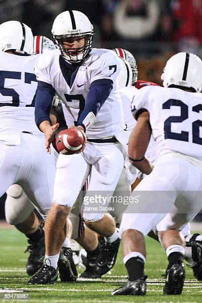 Quarterback Pat Devlin of the Penn State Nittany Lions hands off the ball against the Ohio State Buckeyes on October 25 2008 at Ohio Stadium in...