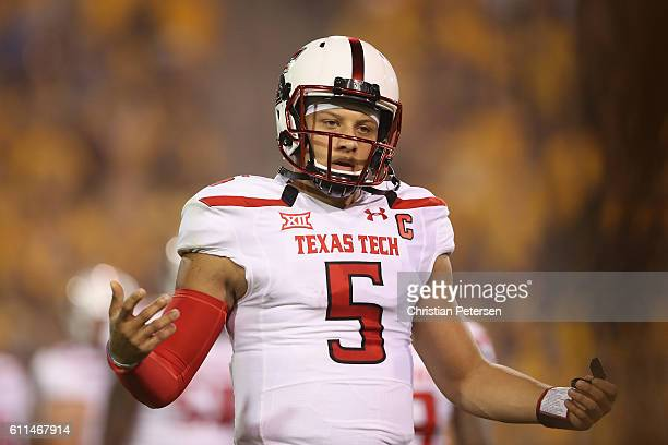 Quarterback Patrick Mahomes II of the Texas Tech Red Raiders during the college football game against the Arizona State Sun Devils at Sun Devil...