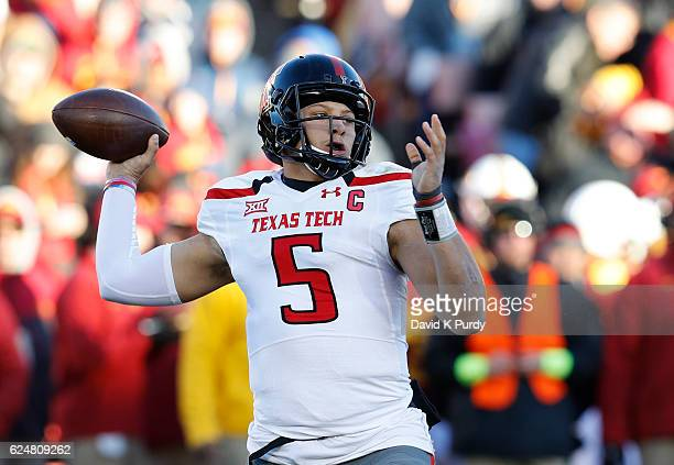 Quarterback Patrick Mahomes II of the Texas Tech Red Raiders passes the ball in the first half of play against the Iowa State Cyclones at Jack Trice...