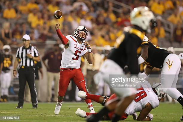 Quarterback Patrick Mahomes II of the Texas Tech Red Raiders throws a pass during the college football game against the Arizona State Sun Devils at...