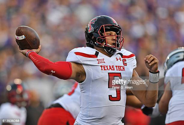 Quarterback Patrick Mahomes II of the Texas Tech Red Raiders throws a pass against the Kansas State Wildcats during the first half on October 8 2016...