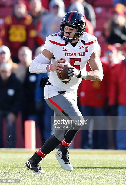 Quarterback Patrick Mahomes II of the Texas Tech Red Raiders scrambles under pressure from the Iowa State Cyclones in the first half of play at Jack...