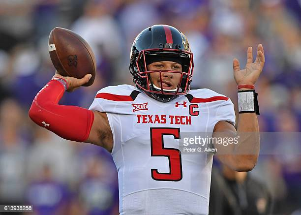 Quarterback Patrick Mahomes II of the Texas Tech Red Raiders warms up prior to a game against the Kansas State Wildcats on October 8 2016 at Bill...