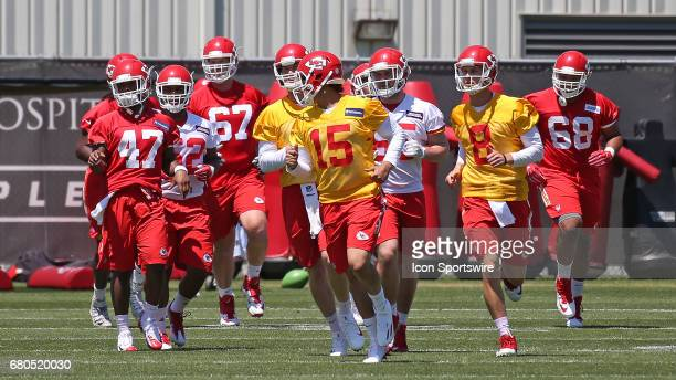 Quarterback Patrick Mahomes leads players onto the field during the Chiefs Rookie Camp on May 7 2017 at One Arrowhead Drive in Kansas City MO