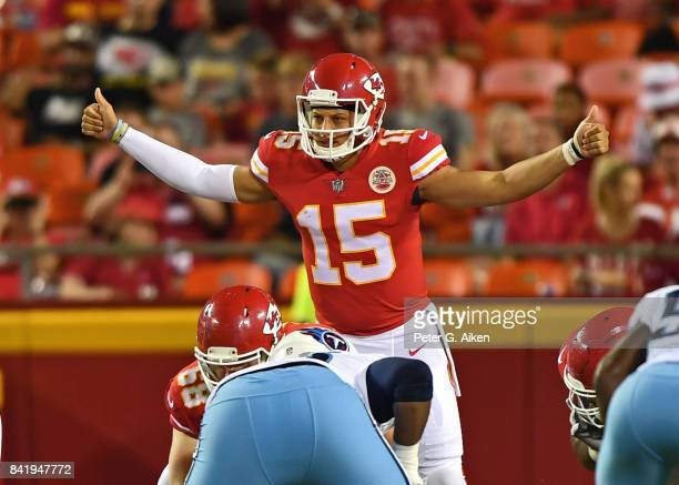 Quarterback Patrick Mahomes of the Kansas City Chiefs calls out a play against the Tennessee Titans during the first half of a preseason game on...