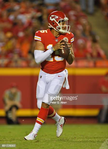 Quarterback Patrick Mahomes of the Kansas City Chiefs drops back to pass against the San Francisco 49ers during the first half of a preseason game on...