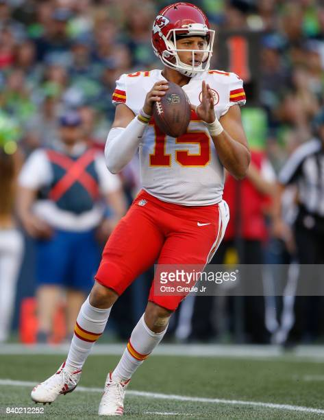 Quarterback Patrick Mahomes of the Kansas City Chiefs drops back to pass against the Seattle Seahawks at CenturyLink Field on August 25 2017 in...