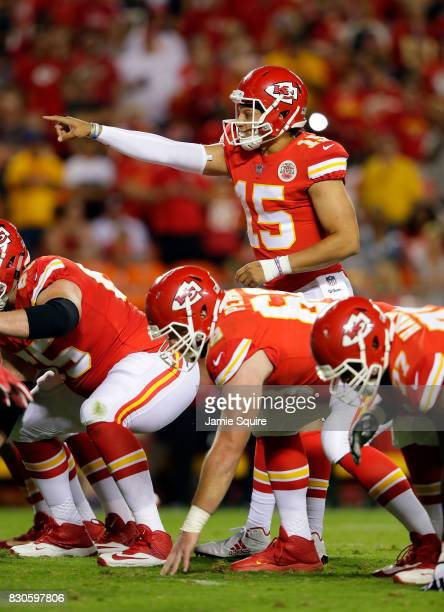 Quarterback Patrick Mahomes of the Kansas City Chiefs in action during the preseason game against the San Francisco 49ers at Arrowhead Stadium on...