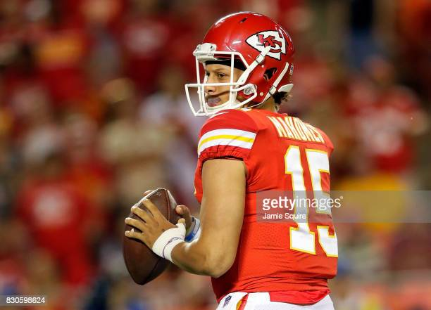 Quarterback Patrick Mahomes of the Kansas City Chiefs looks to pass during the preseason game against the San Francisco 49ers at Arrowhead Stadium on...
