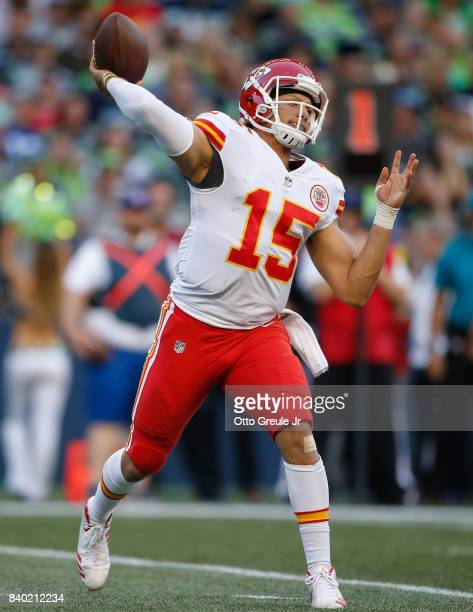 Quarterback Patrick Mahomes of the Kansas City Chiefs passes against the Seattle Seahawks at CenturyLink Field on August 25 2017 in Seattle Washington