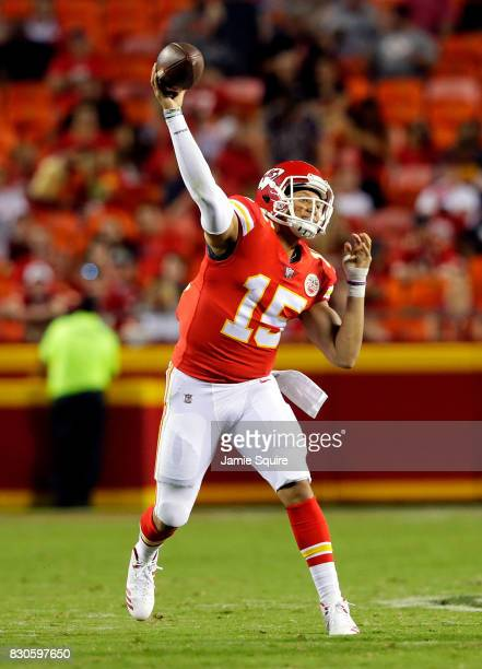 Quarterback Patrick Mahomes of the Kansas City Chiefs passes during the preseason game against the San Francisco 49ers at Arrowhead Stadium on August...