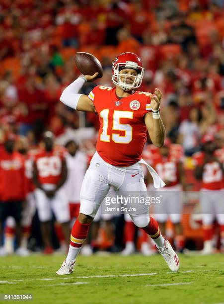 Quarterback Patrick Mahomes of the Kansas City Chiefs passes during the preseason game against the Tennessee Titans at Arrowhead Stadium on August 31...