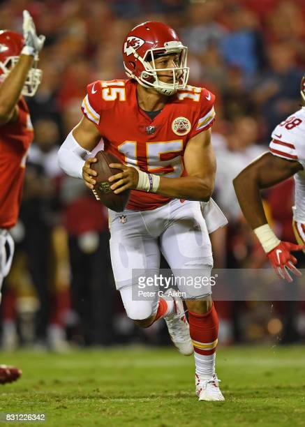 Quarterback Patrick Mahomes of the Kansas City Chiefs rolls out against the San Francisco 49ers during the second half of a preseason game on August...