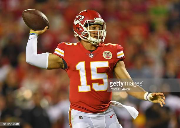 Quarterback Patrick Mahomes of the Kansas City Chiefs throws a pass against the San Francisco 49ers during the second half of a preseason game on...
