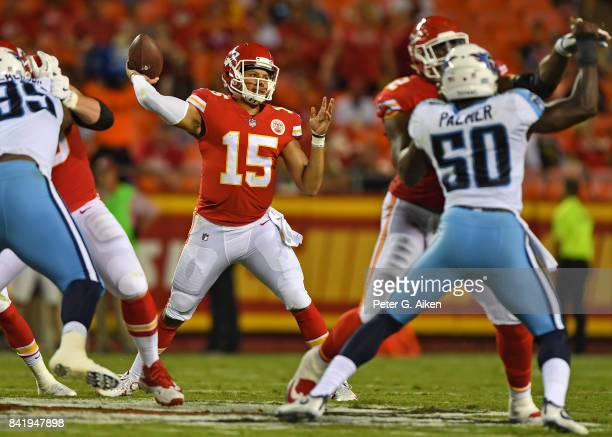 Quarterback Patrick Mahomes of the Kansas City Chiefs throws a pass against the Tennessee Titans during the first half of a preseason game on August...